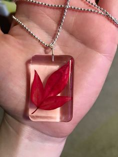 Real autumn leaf resin pendant