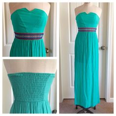 Mint Strapless Maxi Dress