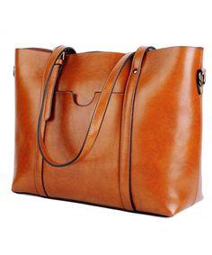 91da9f686e92 Women s Vintage Style Soft Leather Work Tote Large Shoulder Bag - 1- Brown  - CB183S7EZ05