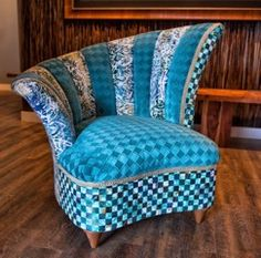 """Hand-painted, one-of-a-kind, luxury art-chair created as part of an """"Art-Chair Project"""" at shonnawellsart.com. Comes with matching chaise and 12 corresponding mixed media original paintings."""