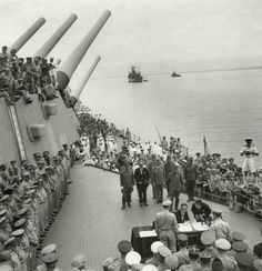 """Japan Surrenders""  September 2, 1945 The document of surrender is signed aboard the Missouri"