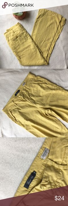 Level 99 Linen Wide Leg Pants Perfect for spring & summer! Linen blend, for a super soft lightweight feel. By Level 99, size 29 (size 8). On-trend dark yellow color. Level 99 Pants Wide Leg
