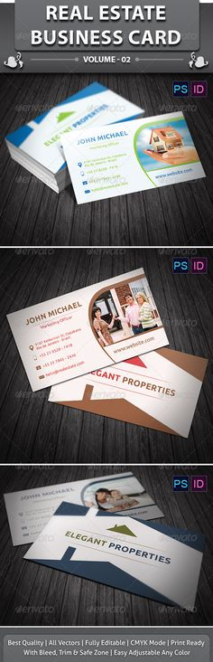 Real Estate Business Card is a designed for any types of companies. It is made by simple shapes although looks very professional.