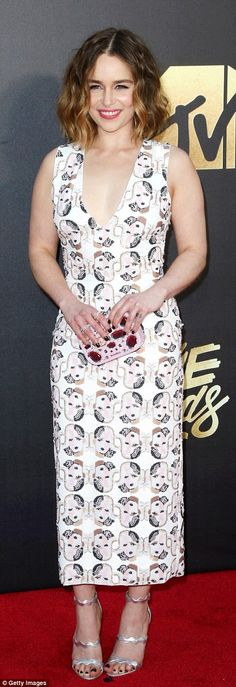Radiant on the red carpet: Game of Thrones beauty Emelia Clarke was super chic in a shimme...