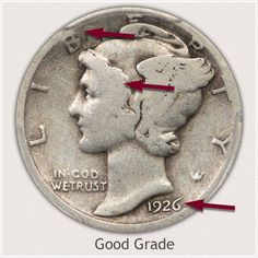 Areas to Judge and Identify on the Obverse a Good Grade Mercury Dime Antique Coins, Antique Glass, Silver Coins Worth, Silver Value, Old Coins Value, Old Coins Worth Money, Valuable Coins, Coin Prices, Silver Dimes