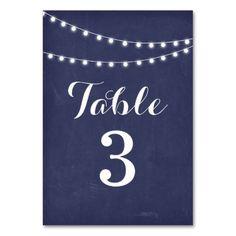 Navy Blue Summer String Light Wedding Table Number Card