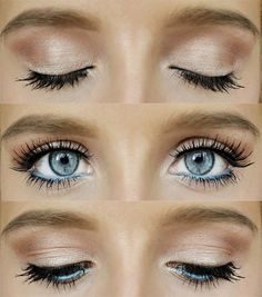 Without the blue eyeliner, so cute for simple wedding make-up :)