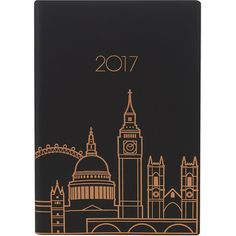 London skyline leather 2017 A5 diary ($31) ❤ liked on Polyvore featuring home, home decor and stationery