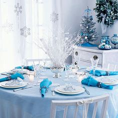 Decorate your Christmas table | A white Christmas | AllYou.com    So pretty!! Winter Wonderland...