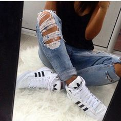 Ripped jeans and Adidas shoes _รtєllค ๓๏ภг๏є_