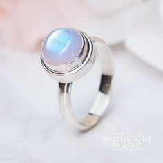 Genuine & iridescent Rainbow Moonstone 925 Sterling Silver timeless & classy design reflecting various tones in different lights__________________