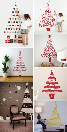 Christmas tree on the wall - Modern Wall Christmas Tree, Handmade Christmas Tree, Christmas Frames, Simple Christmas, Xmas Tree, Christmas Diy, Merry Christmas And Happy New Year, Xmas Ornaments, Xmas Decorations