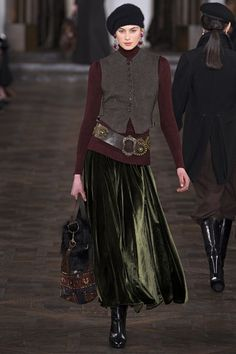 Loving the jewel tone velvets at Ralph Lauren Autumn/Winter 2013 but styling is questionable