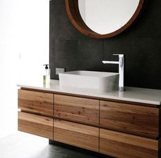 floating reclaimed wood vanity and black bathroom wall. above-counter sink. home. Wood Bathroom, Bathroom Renos, Laundry In Bathroom, Bathroom Interior, Small Bathroom, Vanity Bathroom, Bathroom Modern, Master Bathroom, Master Baths