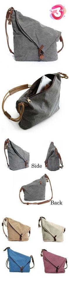 [NC 3rd Anniversary Selected Products] Ekphero Women Vintage Messenger Bag Genuine Leather Canvas Crossbody Bag Tribal Rucksack