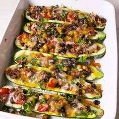 These Burrito Zucchini Boats Cut The Carbs But Keep All The Flavor is part of Healthy diet recipes - Zucchini Burrito Boats from Delish com are the perfect lowcarb dinner option Mexican Food Recipes, Beef Recipes, Vegetarian Recipes, Recipies, Recipes Dinner, Super Healthy Recipes, Health Recipes, Veggie Medley Recipes, Healthy Cooking Recipes