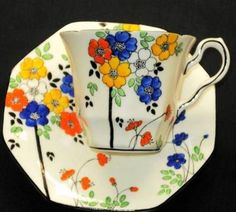 Melba England Yellow Pink Blue Tea Cup and Saucer