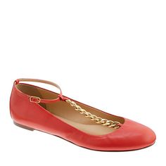 Super cutesy pair of ballet flats with gold t-chain- J.Crew