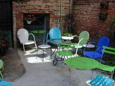 Motel chairs in the courtyard