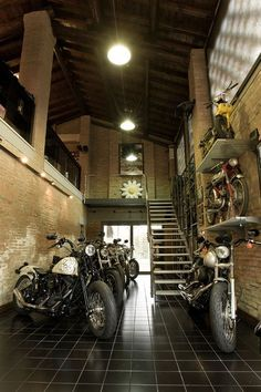 Motorcycle garage/show room.