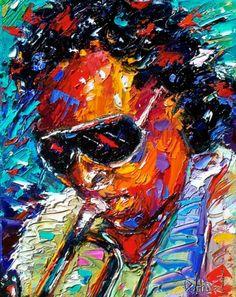 Miles Davis art painting jazz trumpet by Debra Hurd, painting by artist Debra Hurd