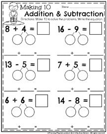 First Grade Math Worksheets for May - Making 10 Addition & Subtraction. First Grade Classroom, 1st Grade Math, First Grade Math Worksheets, Flashcards For Kids, Math Subtraction, Daily 5 Math, Singapore Math, Math School, Math Strategies