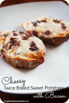 Twice Baked Sweet Potatoes with bacon