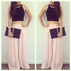 outfits de faldas largas · pollera larga rosa ff1321c57150