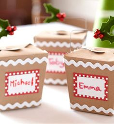 Personalized take-out cookie containers...great for cookie exchange!