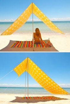 leuk zonnescherm met tentstokken of pvc buis en tentdoek of gewoon een leuk stofje,simpel met weinig berg ruimte