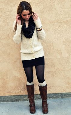 NEW--leggings and mini skirt HAVE--sweater(s) WANT--boot cuffs