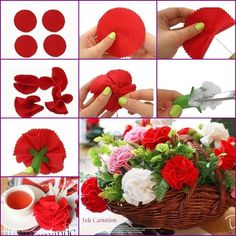 How to DIY Easy Felt Carnation Flower Basket