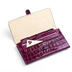 The Classic Travel Wallet in Purple Croc & Cream - Aspinal of London