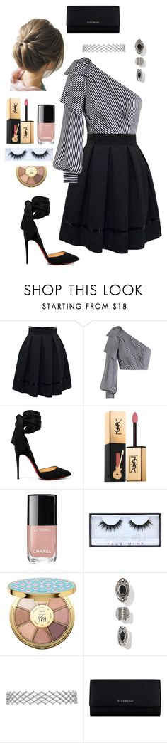 """To the banquet"" by goddessofbacon ❤ liked on Polyvore featuring Tamara Mellon, Zimmermann, Christian Louboutin, Yves Saint Laurent, Chanel, Huda Beauty, tarte and Givenchy"