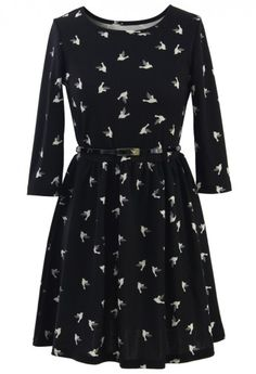 Dove Print Belted Mid-Sleeve Skater Dress