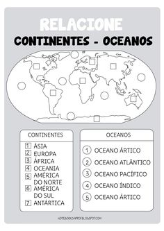 Continentes y océanos Social Studies Worksheets, Social Studies Activities, Teaching Social Studies, Middle School Management, American History Lessons, Teaching Geography, Les Continents, Science Lessons, Kids Education
