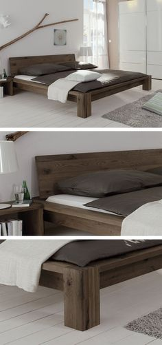 Solid wooden bed made of brushed wild oak. Oiled in three different colors … – Home Decor - Schlafzimmer Pallet Furniture, Bedroom Furniture, Home Furniture, Furniture Design, Wood Bedroom, Diy Bedroom, Bed Frame Design, Diy Bed Frame, Wooden Bed Frame Diy