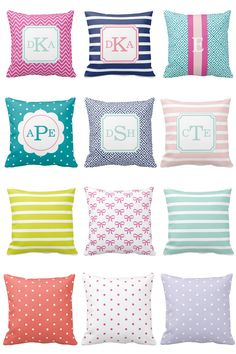 Lots of monogrammed & colorful throw pillows!