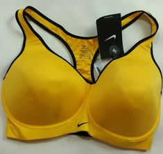 c9b6361af05 Nike 34 E High Support Pro Rival Racerback Padded Sports Bra 620277 703  Yellow for sale online