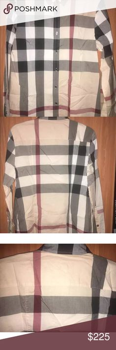 Burberry Nova Check shirt Has a small hole on right sleeve from censor and color shading on same sleeve also cut on main label. Burberry Other