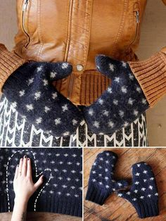 DIY Mittens Made From A Sweater - DIY Ideas 4 Home