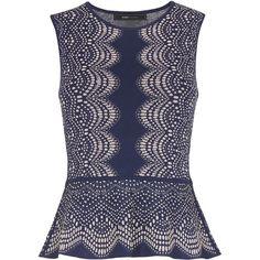 BCBGMAXAZRIA Alonya Knit Jacquard Peplum Top ($228) ❤ liked on Polyvore featuring tops, sleeveless peplum top, bcbgmaxazria, knit pullover, blue peplum top and blue top