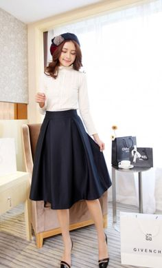 6f016182bf7 Womens vintage box pleated mid length office skirt available in navy