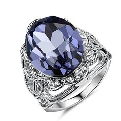 Birthstone Blue Sapphire Rings for Women & Fashion Jewelry Purity Aquamarine Ring Amethyst And Diamond Ring, Aquamarine Rings, Blue Sapphire Rings, Sapphire Jewelry, Blue Rings, Diamond Jewelry, Gemstone Jewelry, Womens Jewelry Rings, Women Jewelry