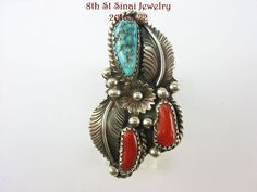 Amazing Unsigned Southwestern Sterling Silver 925 Turquoise & Coral Ring Size 7