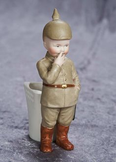 """7"""" (18 cm.) German Candy Container Figurine By Gebruder Heubach of  Young Soldier 200/300"""