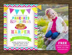 Pancakes and Pajamas Birthday Invitation Girl  by SweetGumdrop, $15.00