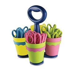 Westcott School Scissor Caddy and Kids Scissors With Antimicrobial Protection 24 Scissors and 1 Caddy 5Inch Blunt 14756 2 DESIGN 1 -- Continue to the product at the image link.