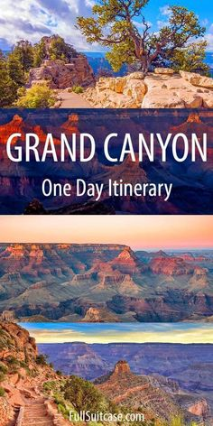 One day at the Grand Canyon - what to see and do at the South Rim. Find out! Complete guide to the best things to see and do in Grand Canyon in one day. Featuring a map and suggested 1 day itinerary for visiting the South Rim. Find out! Grand Canyon Arizona, Grand Canyon South Rim, Grand Canyon Village, Flagstaff Arizona, Scottsdale Arizona, Phoenix Arizona, Arizona Road Trip, Arizona Travel, Grand Canyon Vacation