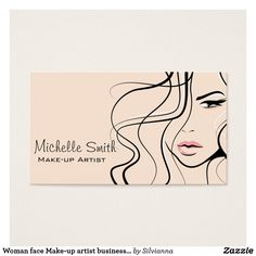 Business card with a beautiful fashion style girl face on a beige background. Perfect for your company promotion. Suitable for make-up artists, cosmetologists, lash extension, hairdressers, stylists, spa salon , hair and beauty salon or model agency. Customizable. Collection of matching branding products:                             com.                         com                                                                               com
